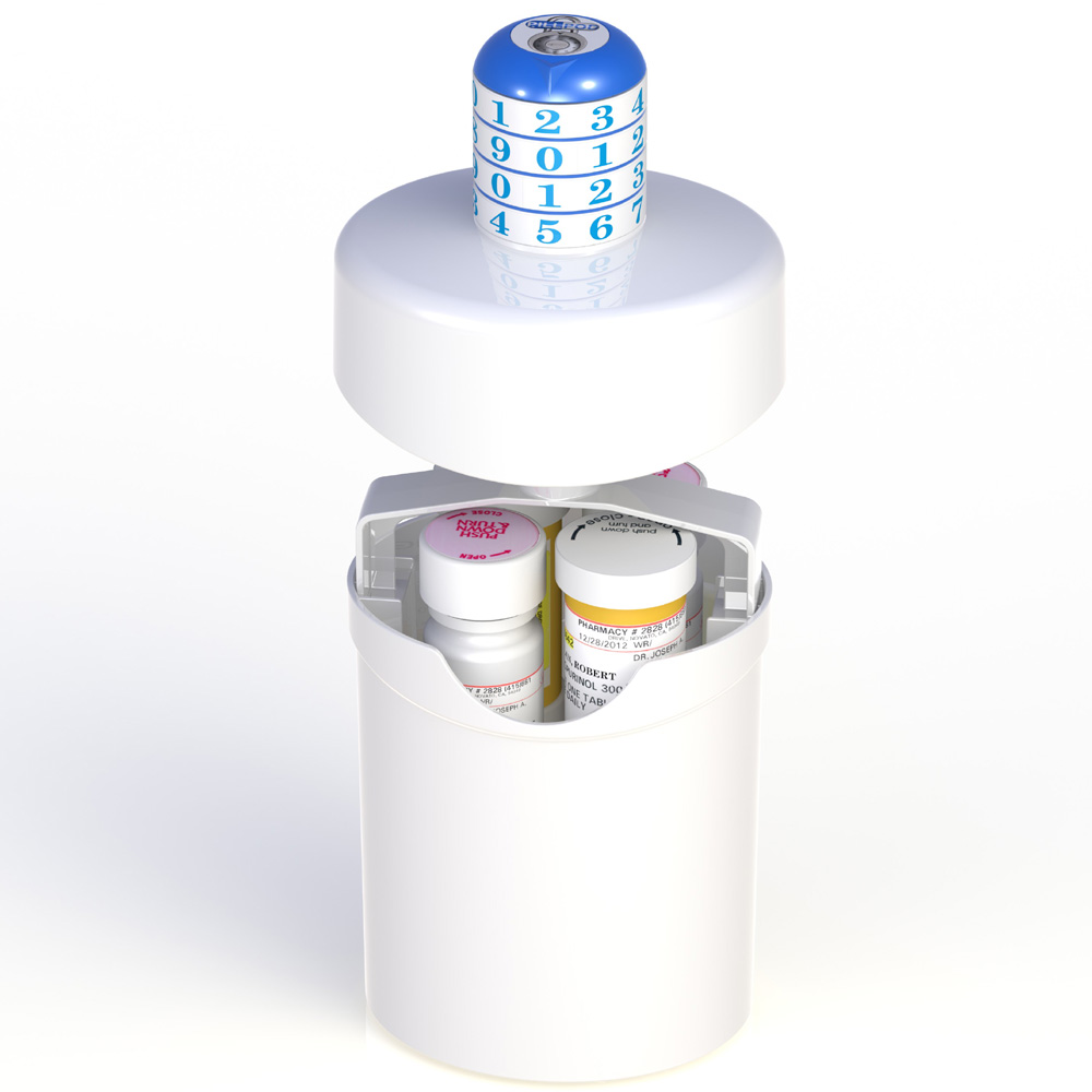 Pill Pod Drug Lock Box with combination locking cover