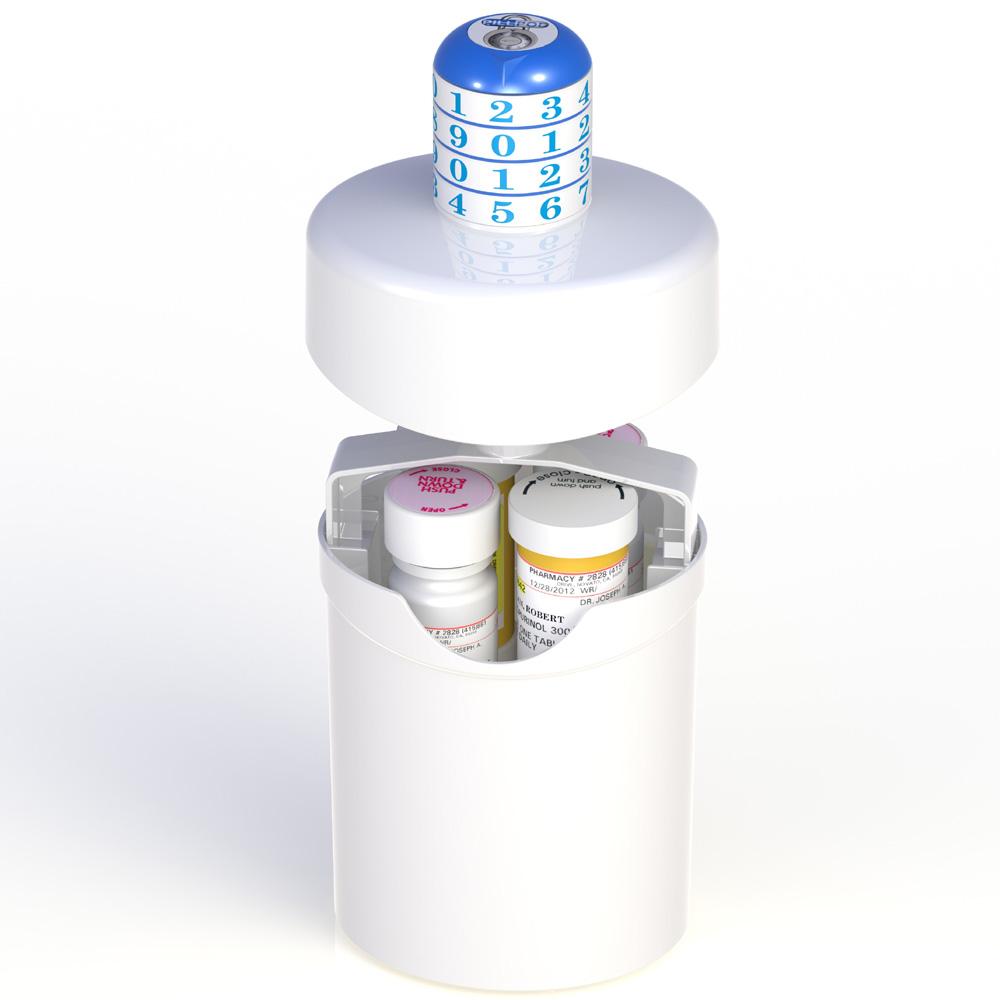 pill pod Rx combination locking prescription drug container box bottle abuse prevention secure safeguard storage opioids