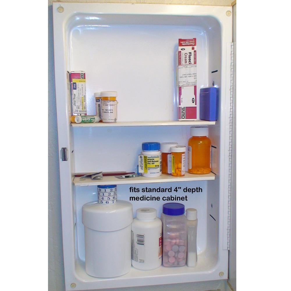 Pill Pod fits into standard 4 inch depth medicine cabinets
